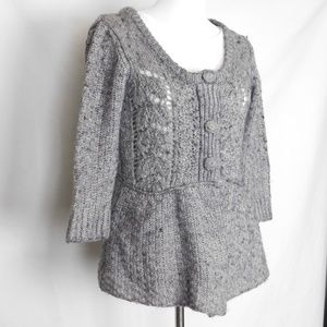 Hand Knit Cardigan by Fever Petite Size S Gray